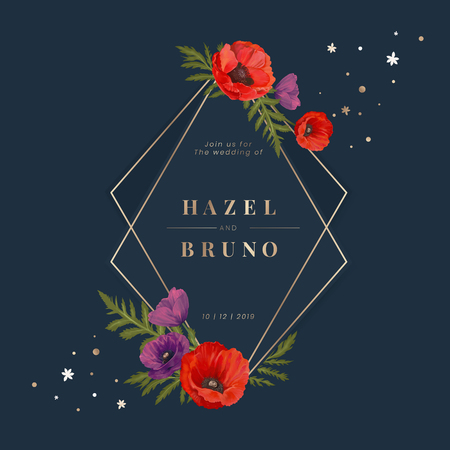Floral wedding invitation design vector Ilustrace