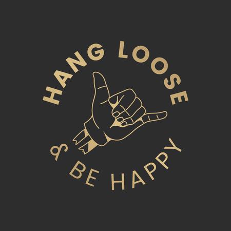 Colgar suelto y ser feliz vector logo