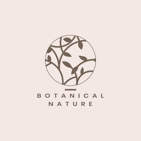 Botanical nature circle badge vector