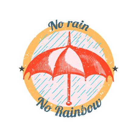 Motivational quote no rain no rainbow badge vector