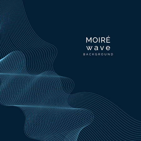 Sky blue moiré wave on space blue background