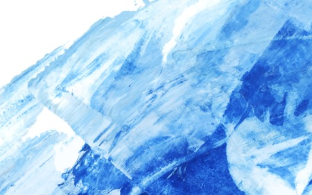 Blue and white abstract acrylic brush stroke textured background vector