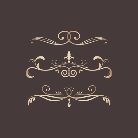 Decorative calligraphic ornaments vector set Ilustrace