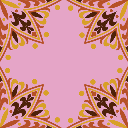 Red and yellow mandala pattern on pink background