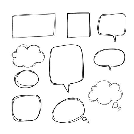 Hand-drawn doodle speech bubbles vector set Reklamní fotografie - 124971389