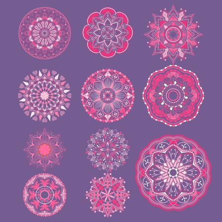 Pink mandala patterns set on purple background