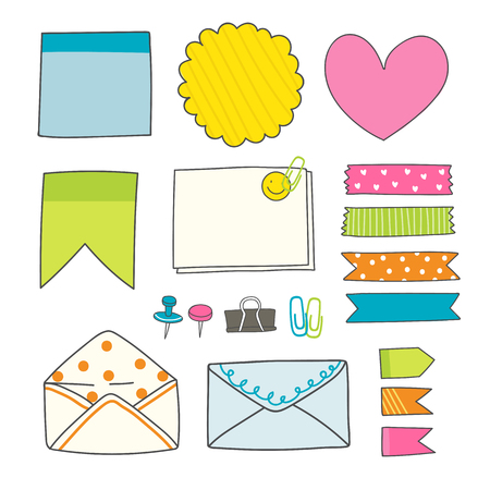 Note papers and office supplies doodle vector set