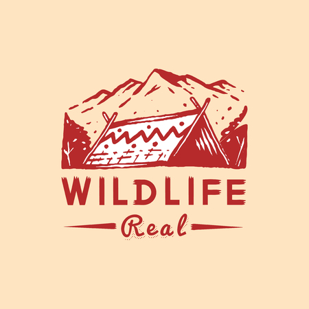 Real wildlife camping logo vector