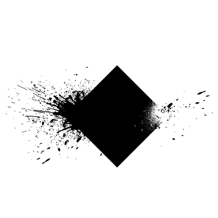 Square shaped element with ink splashes vector Illusztráció