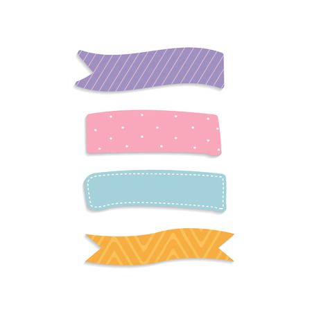 Colorful sticky reminder note papers set  イラスト・ベクター素材