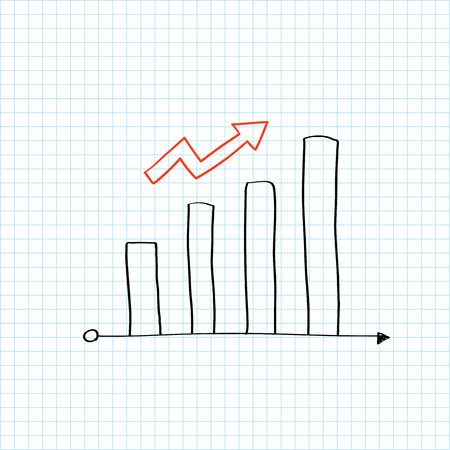 Growing bar graph with an arrow vector