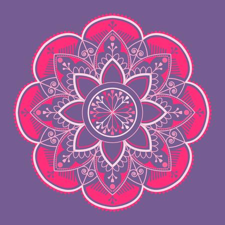 Pink mandala pattern on purple background Ilustrace
