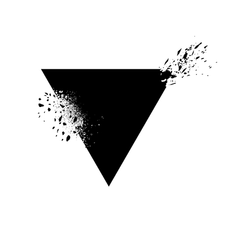 Triangle shaped element with ink splashes vector Illustration