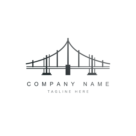 Black bridge company logo vector Stock Illustratie