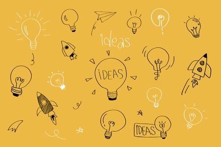 Idee di creatività lampadine doodle vettore di raccolta Vettoriali