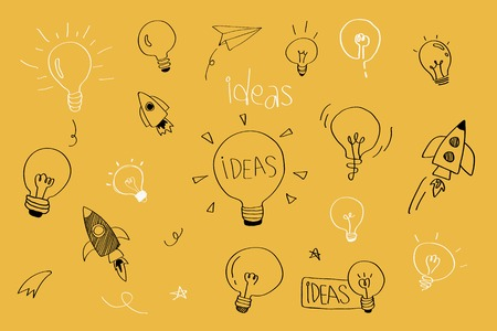 Vector de colección de doodle de bombillas de ideas de creatividad Ilustración de vector
