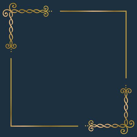 Vecteur de cadre d'ornement vintage doré