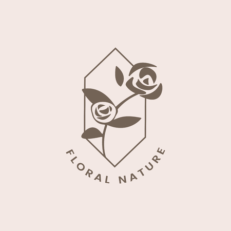 Floral nature rose badge vector Archivio Fotografico - 118067866