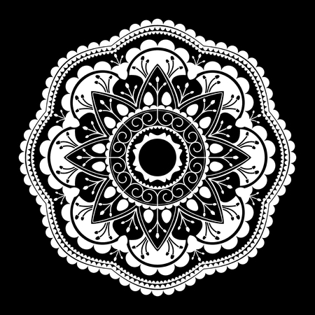 White mandala pattern on white background 向量圖像