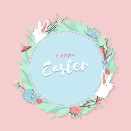 Easter eggs hunt festival round blue frame vector Çizim
