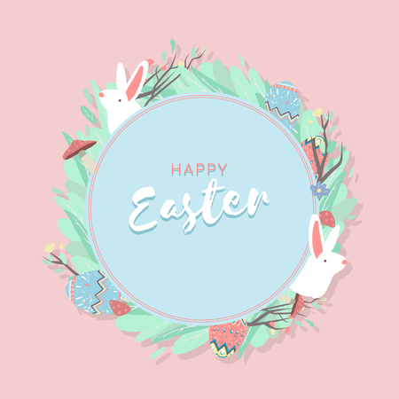 Easter eggs hunt festival round blue frame vector Illustration