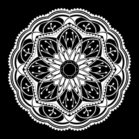 White mandala pattern on white background Illustration