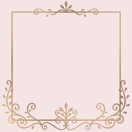 Vettore dorato del telaio dell'ornamento dell'annata Vettoriali