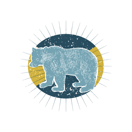 Big bear illustration badge vector