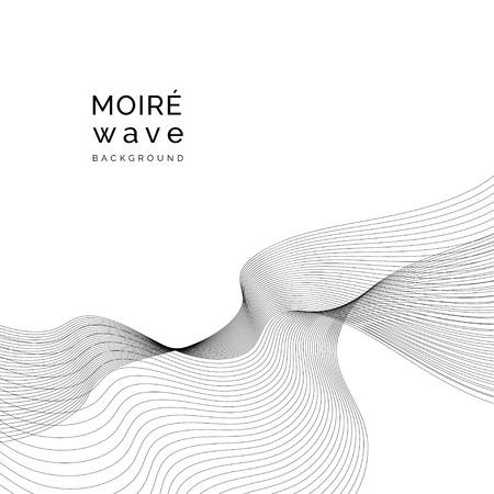 Black moiré wave on white background