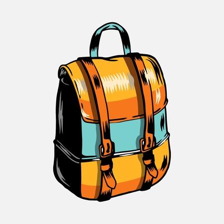 Colorful camping trip rucksack vector
