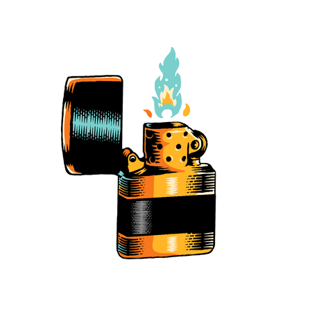 Vintage lit up lighter vector