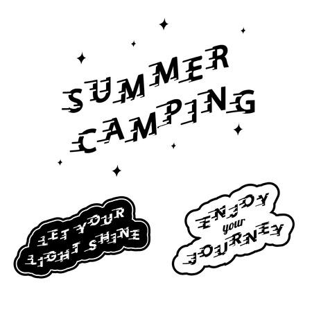 Summer camping logo set vectors Illustration