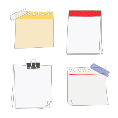 Note papers doodle style vector set