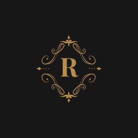 Vintage baroque R badge design Stockfoto - 118068510