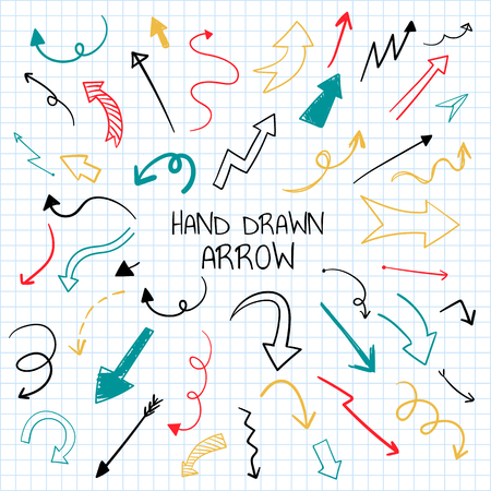 Hand-drawn doodle arrows vector set Vettoriali