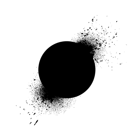 Circle shaped element with ink splashes vector