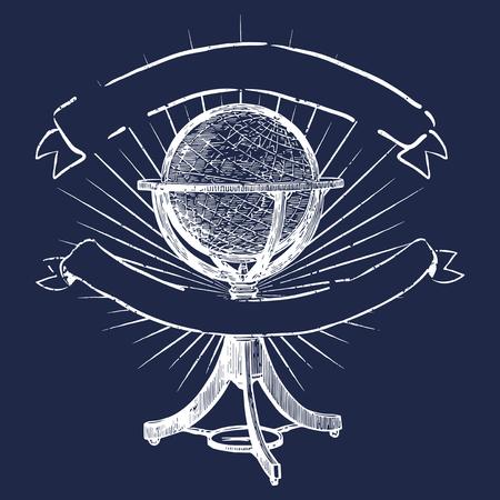 Standing globe illustration logo vector
