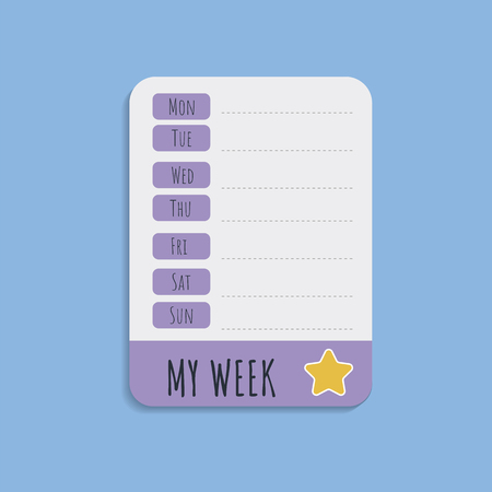 Cute white weekly planner note vector
