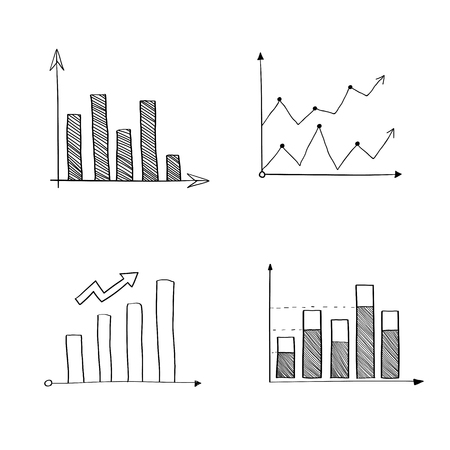 Positive line graph and bar chart vectors Illustration