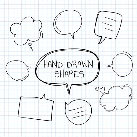 Hand-drawn doodle speech bubbles vector set Illustration