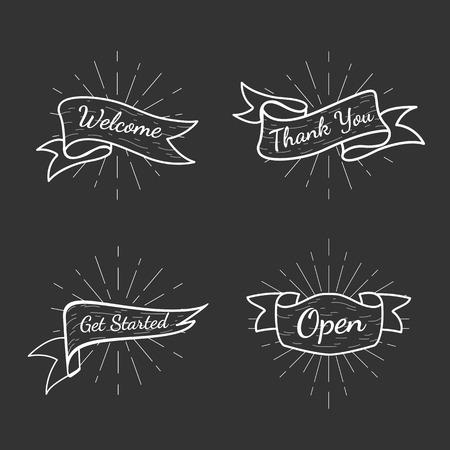 Bannières avec jeu de vecteurs de textes Vecteurs