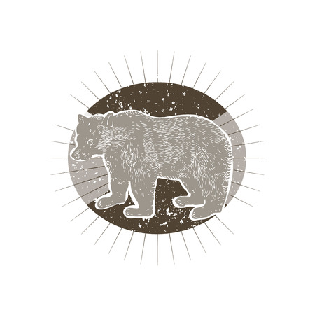 Big bear illustration badge vector Stock Vector - 118068906