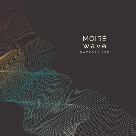 Blue and orange moiré wave on black background Illustration