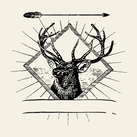 Male deer illustration badge vector 向量圖像