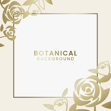 Gold botanical square framed vector
