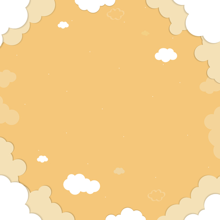 Yellow sky with clouds patterned background vector