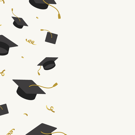 Graduation background with mortar boards vector Stock fotó - 124774264