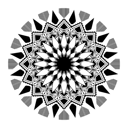 Black mandala pattern on white background Ilustração