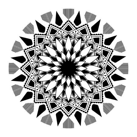 Black mandala pattern on white background Illustration