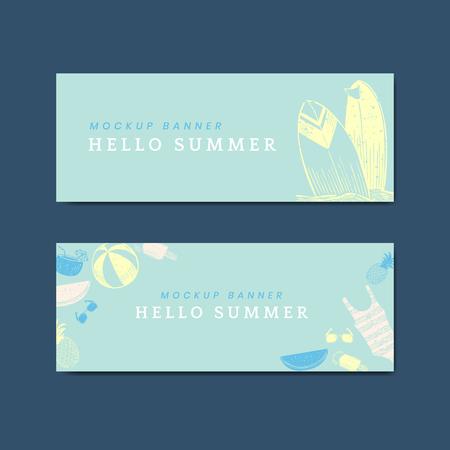 Hello summer mockup banners vector set Stock Illustratie